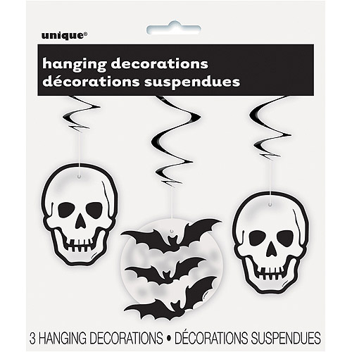 Hanging Skull and Bat Halloween Decorations, 26 in, 3ct
