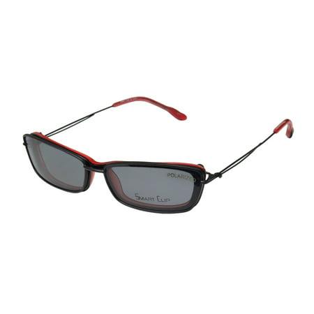 New Smartclip 921 Womens/Ladies Cat Eye Full-Rim Black / Cherry Cat Eye With Polarized Clip-on Lenses Frame Demo Lenses 48-16-135 Sunglass Lens Clip-Ons (Custom Cut Sunglass Lenses)