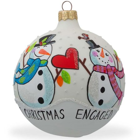 Engaged Snowman Couple Glass Ball Our First Christmas Ornament 4 Inches