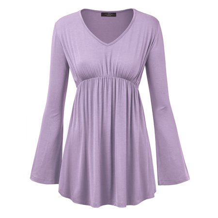 Empire Waist Tie Back - MBJ WT1159 Womens V Neck Long Sleeve Empire Waist Tunic Top M LILAC