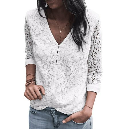 STARVNC Women Two Side Wear 3/4 Sleeve V Neck Hollow Lace Splice Blouse