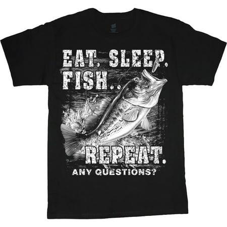 - Eat Sleep Fish Funny Bass Fishing T-shirt Men's Tee Black
