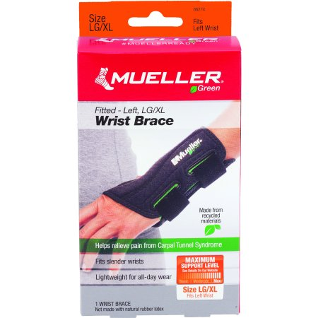 Mueller Green Fitted Wrist Brace, Black, Left Hand, Large/Extra -
