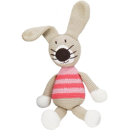 Hand Knitted Toys Animals Cute Kids Huggable Organic Yarn - Petra The Rabbit (Pink)