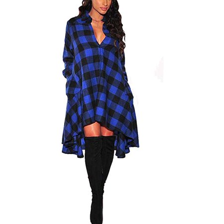 Womens Plaids Irregular Hem Casual Shirt Dress