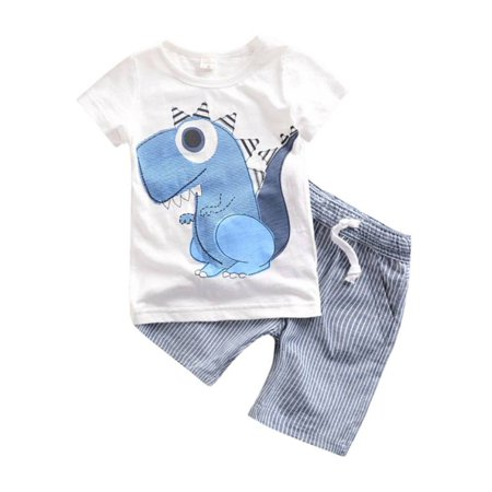 2PCS Kids Baby Boys Casual Dinosaur T-shirt Top+Striped Shorts Clothes Set](Clearance Toddler Boy Clothes)