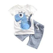 2PCS Kids Baby Boys Casual Dinosaur T-shirt Top+Striped Shorts Clothes Set