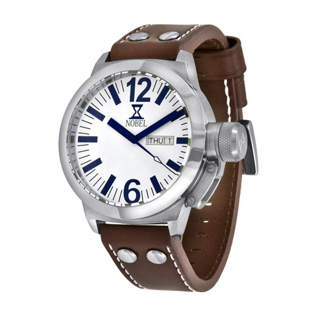 NobelWatchCo EZ 618 G Stainless Watch With Leather Bracelet
