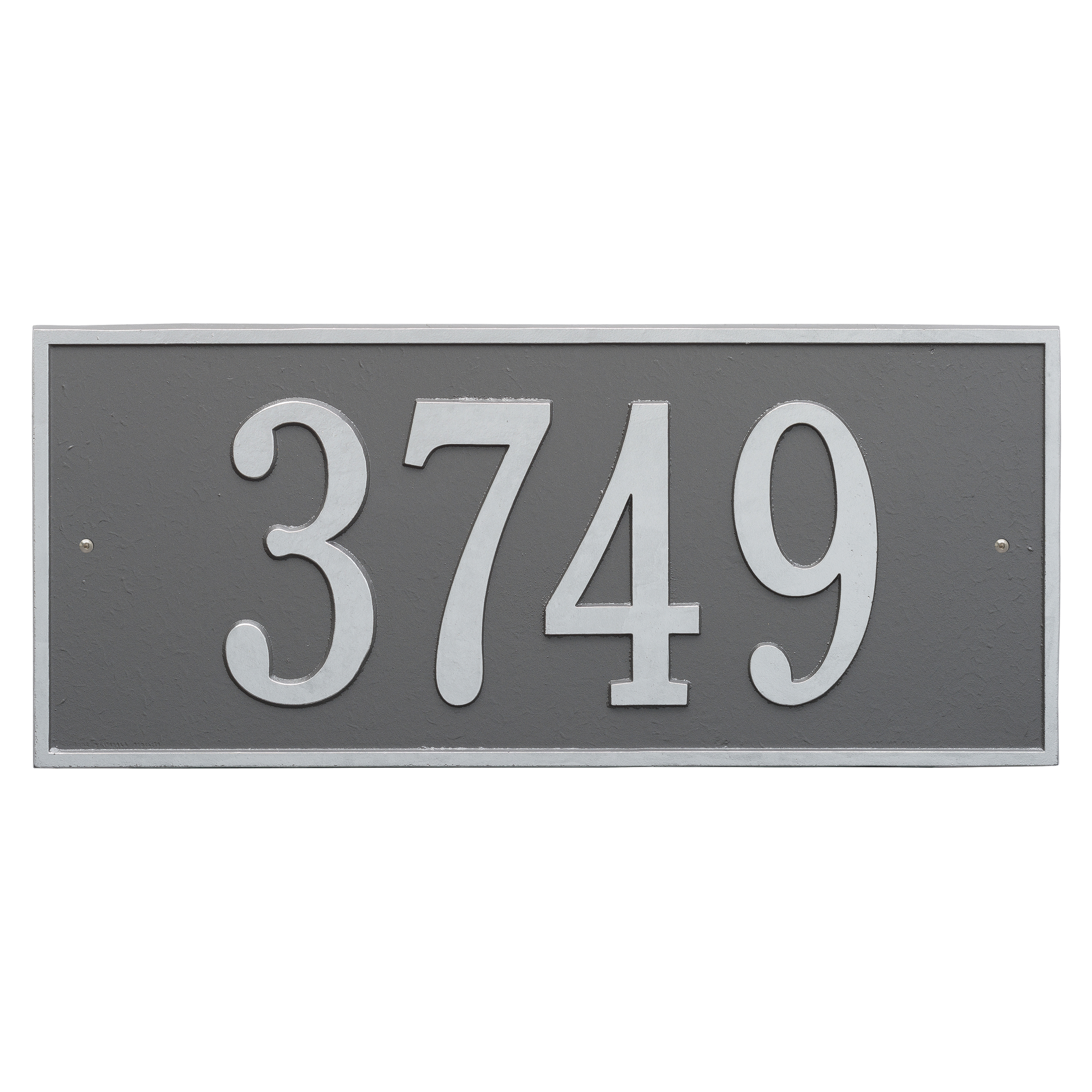 Personalized Hartford Rectangular Estate Wall 1-Line Address Plaque in Pewter Silver by Whitehall