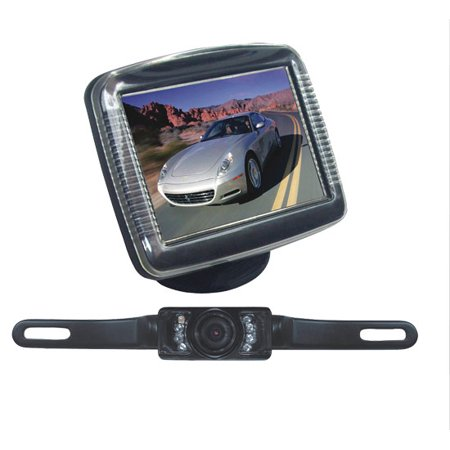 "PYLE PLCM36 - Backup Rear View Car Camera Monitor Screen System Kit - Parking & Reverse Safety Distance Scale Lines, Waterproof, Night Vision, IR LED Lights, 3.5"" LCD Video Color Display for Vehicles"