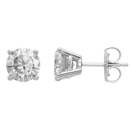 Si2 Earrings (Radiant Fire® Certified Lab Grown 1 Ct Round Diamond Stud Earrings, SI2 clarity, D E F color, in 14K White Gold)