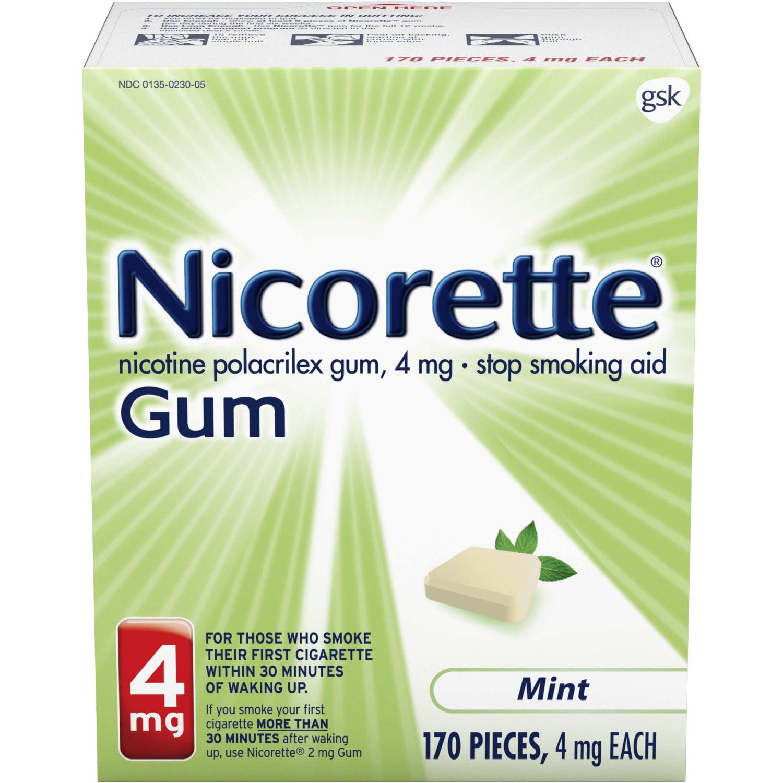 Nicorette Nicotine Gum, Stop Smoking Aid, 4 mg, Mint Flavor, 170 count