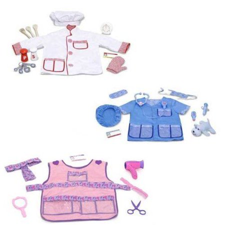 Melissa and Doug Chef Hair Stylist and Veterinarian Role Play Costume Sets for $<!---->