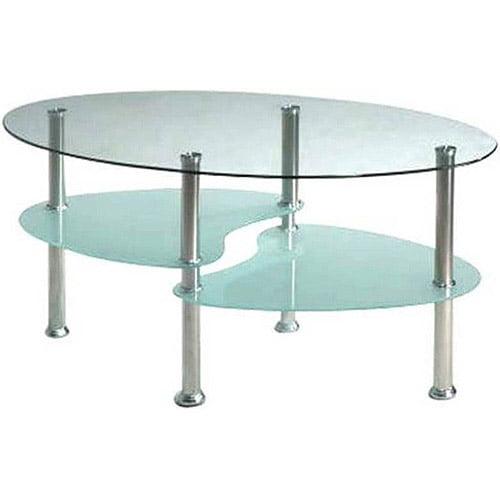 Hodedah Oval Glass 3Tier Coffee Table Multiple Colors Walmartcom