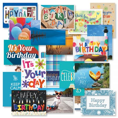 "Mega Birthday Greeting Card Value Pack - Set of 40 (2 of each) 5"" x 7"" cards come with white envelopes"