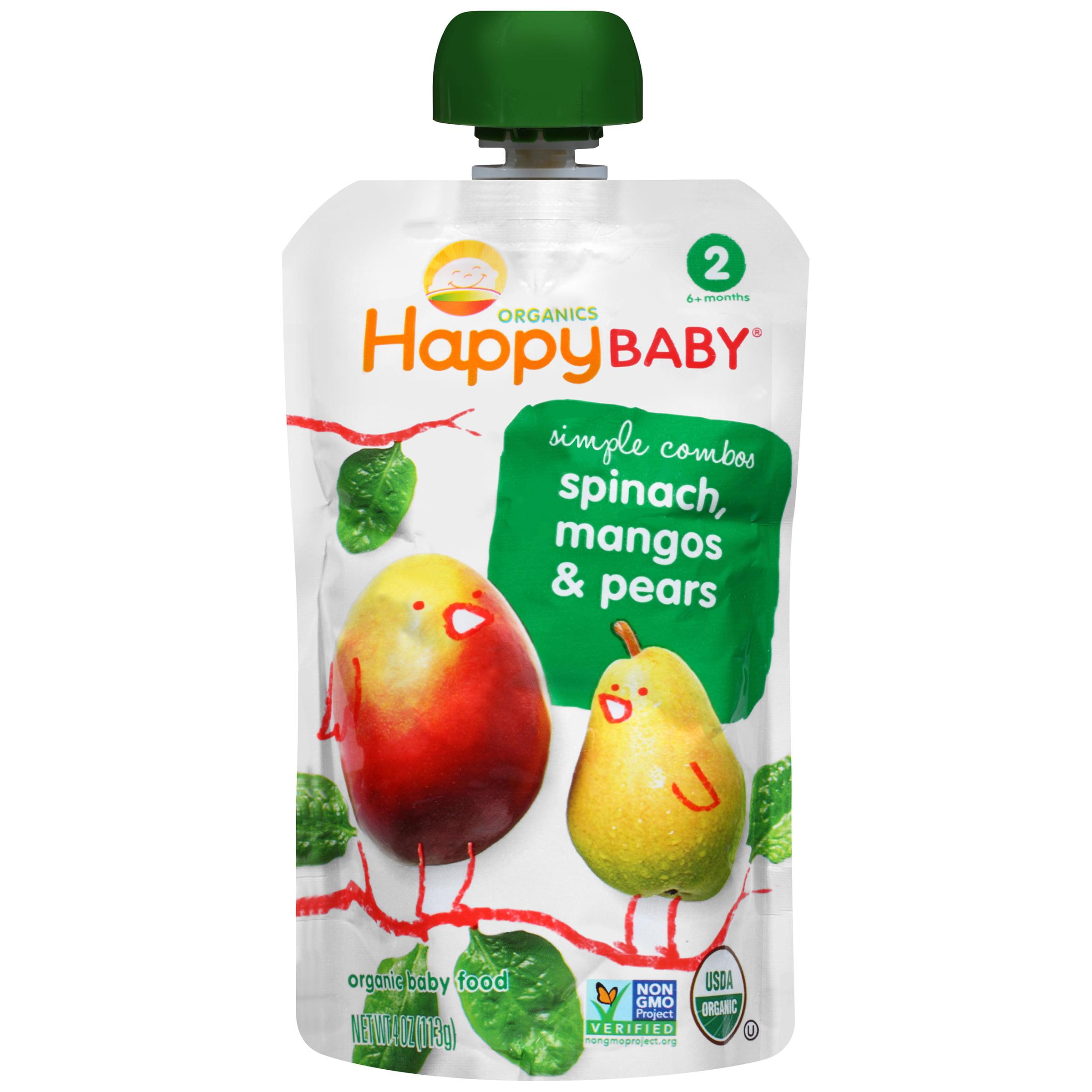 HappyBaby Organics Organic Baby Food Simple Combos 2 Spinach, Mangos & Pears, 4.0 OZ