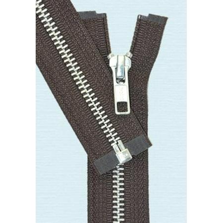 "ZipperStop Wholesale Authorized Distributor YKK® 30"" inch Medium Weight Jacket Zipper YKK #5 Aluminum ~ Separating ~ 570 Brown (1 Zipper/pack)"