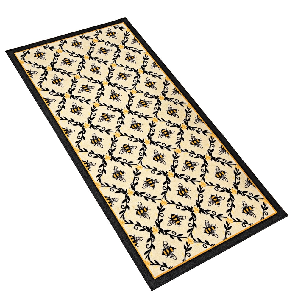 Bumble Bee Printed Lattice Skid-Resistant Accent Rug by Collections Etc