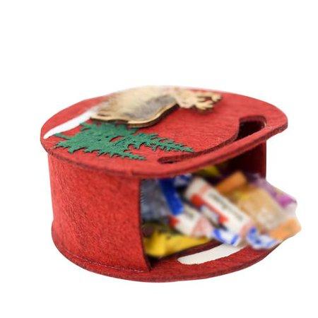 Christmas Felt Candy Bag Portable Christmas Elk Pattern Gift Bag Christmas Gift