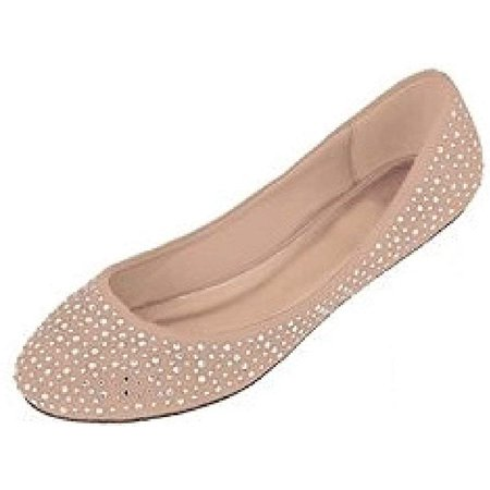 Womens Faux Suede Rhinestone Ballerina Ballet Flats Shoes 5 Colors (11, 4021 Nude) ()