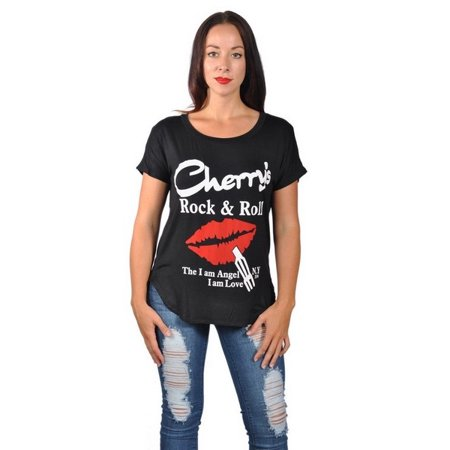 ee17f956 Americal Clothing - Womens Fashion Cherrys Rock N Roll Red Lip Plus Size  Graphic Tees Top - Walmart.com