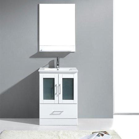 Virtu Usa  Ava Single Sink Vanity In White With Mirror