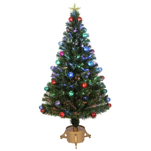 Jolly Workshop Fiber Optic 4' Green Artificial Christmas Tree with LED Muticolor Light with Ornaments and Stand