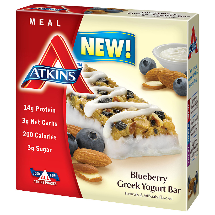 Atkins Meal Bars Blueberry Greek Yogurt1.69 oz. x 5 pack(pack of 3)