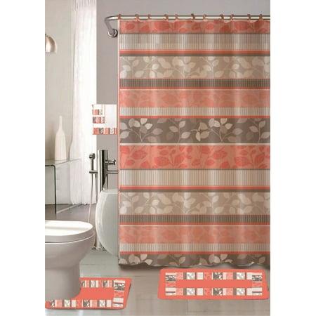 Zen Peach 18-Piece Bathroom Set: 2-Rugs/mats, 1-Fabric Shower Curtain, 12-Fabric Covered Rings, 3-pc. Decorative Towel