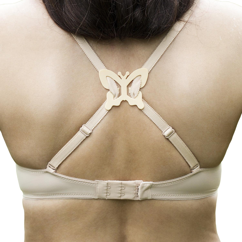 Set of 8 Black Bra Back Clips Conceal Bra Straps Cleavage Control