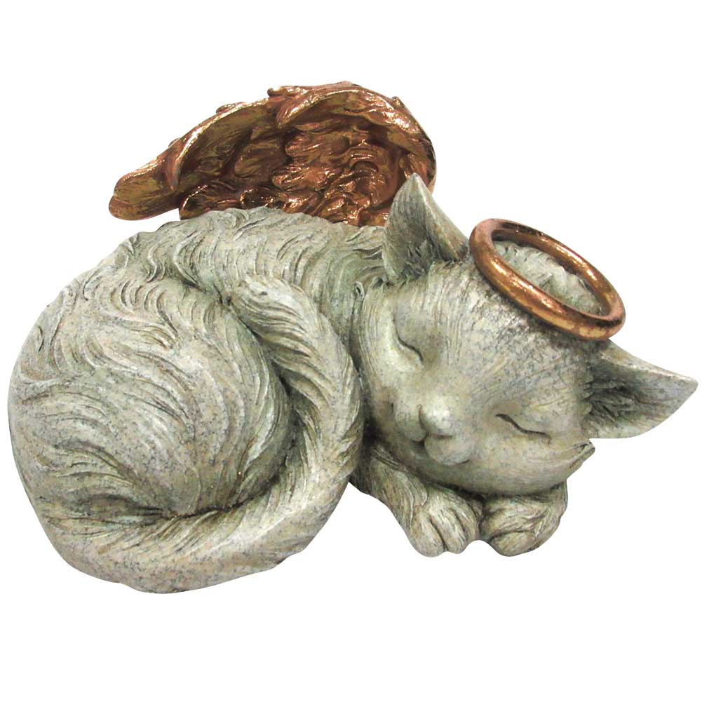 Angel Cat Urn - Handpainted Resin Holds Ashes, Fur Clippings, Collar, Tags +