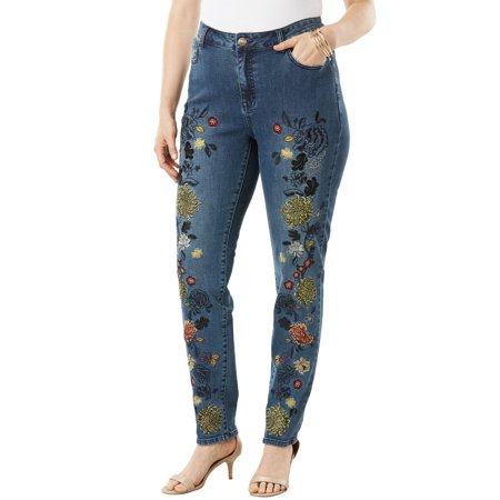 9c9d5344915 Roamans - Plus Size Floral Embroidered Skinny Jean By Denim 24 7 -  Walmart.com