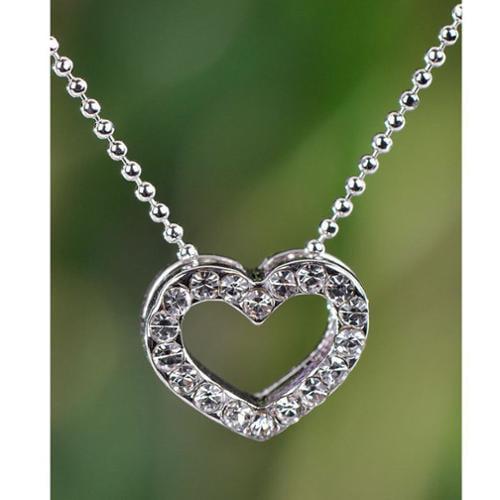 Wink International Silvertone Clear Crystal Heart Necklace (Thailand)