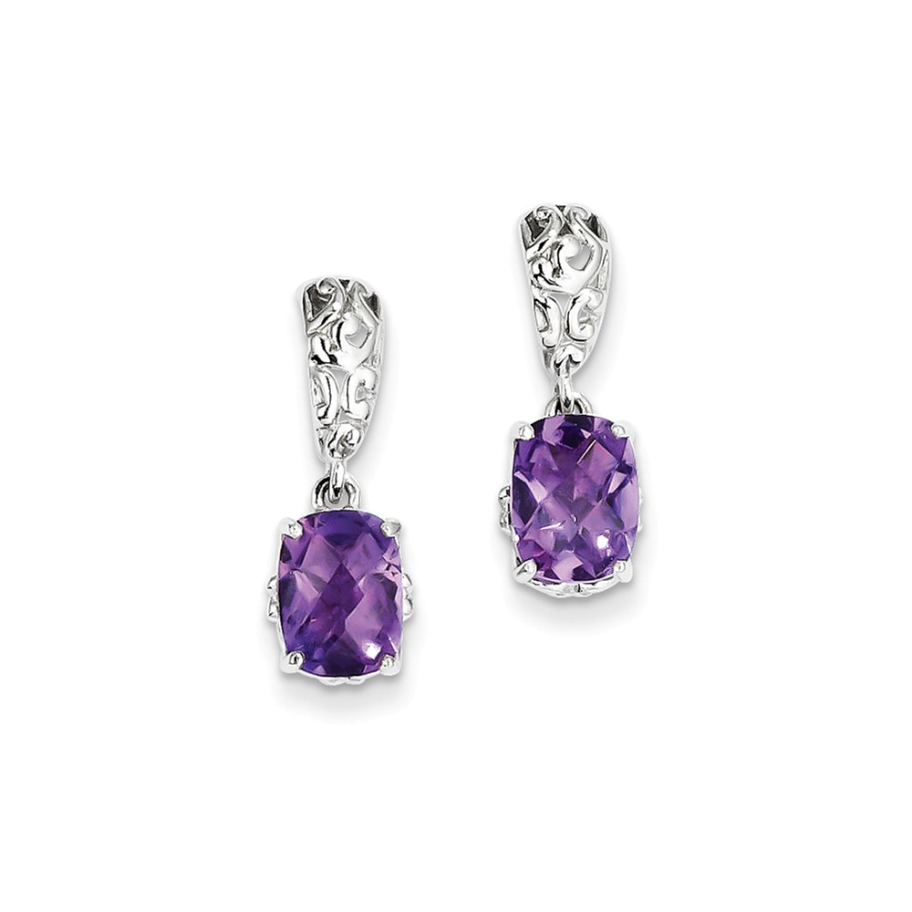 Sterling Silver 0.7IN Long Amethyst Earrings