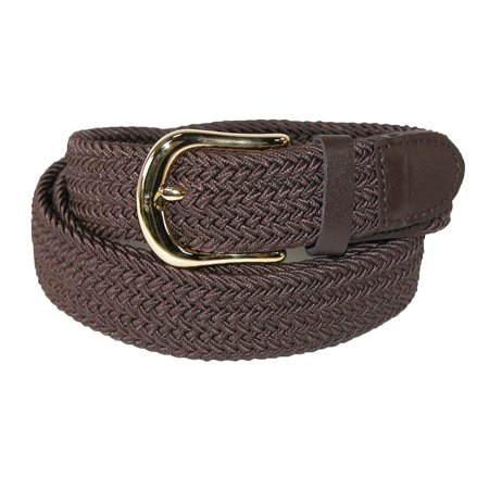 - Men's Elastic Stretch Belt with Gold Buckle and Matching Tabs