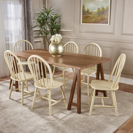 Amy Farmhouse Cottage 7 Piece Faux Wood Dining Set with Finished Rubberwood Chairs, Natural Walnut and Antique White ()