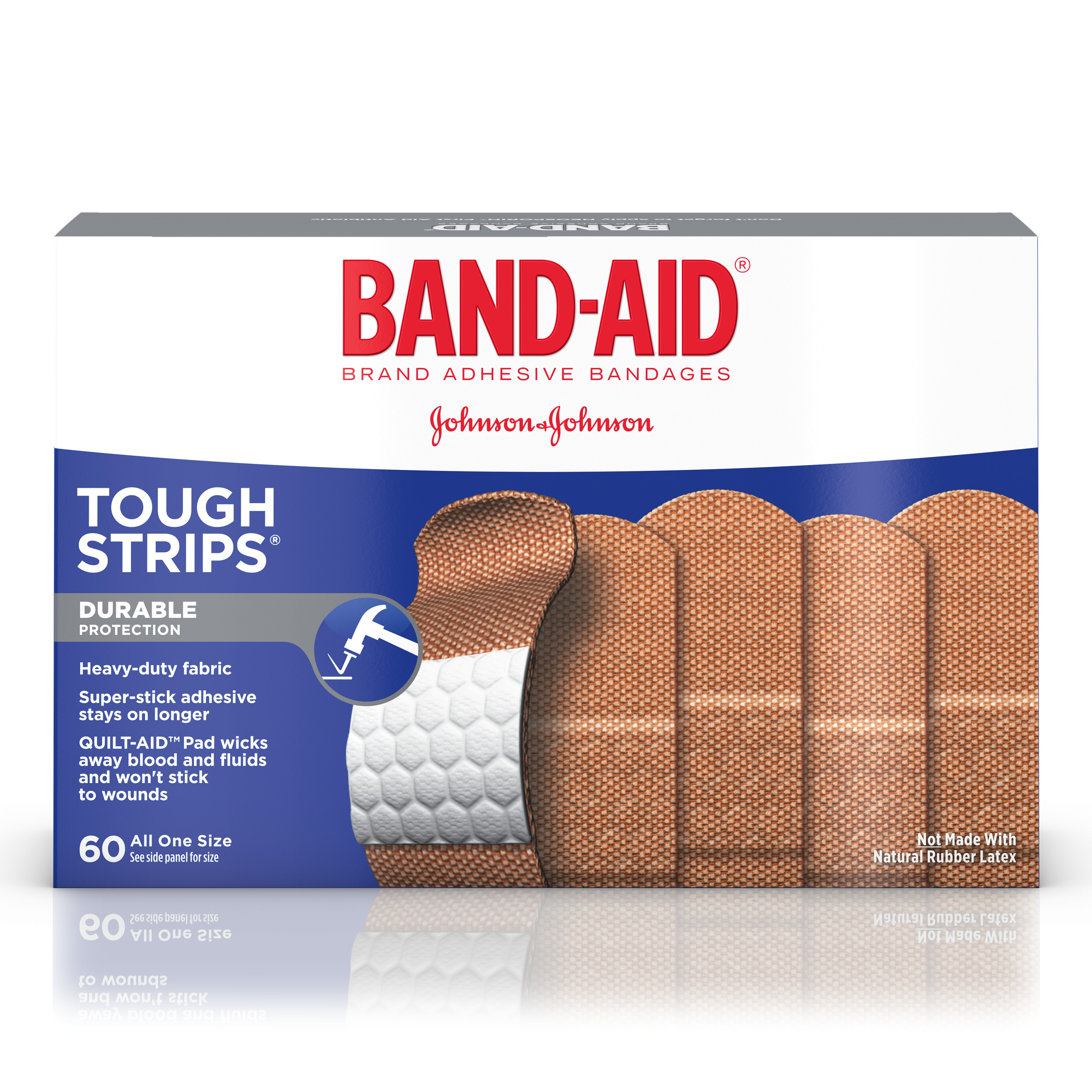 BAND-AID Brand TOUGH-STRIPS Adhesive Bandages, Durable Protection for Minor Cuts and Scrapes, 60 Count by Johnson & Johnson