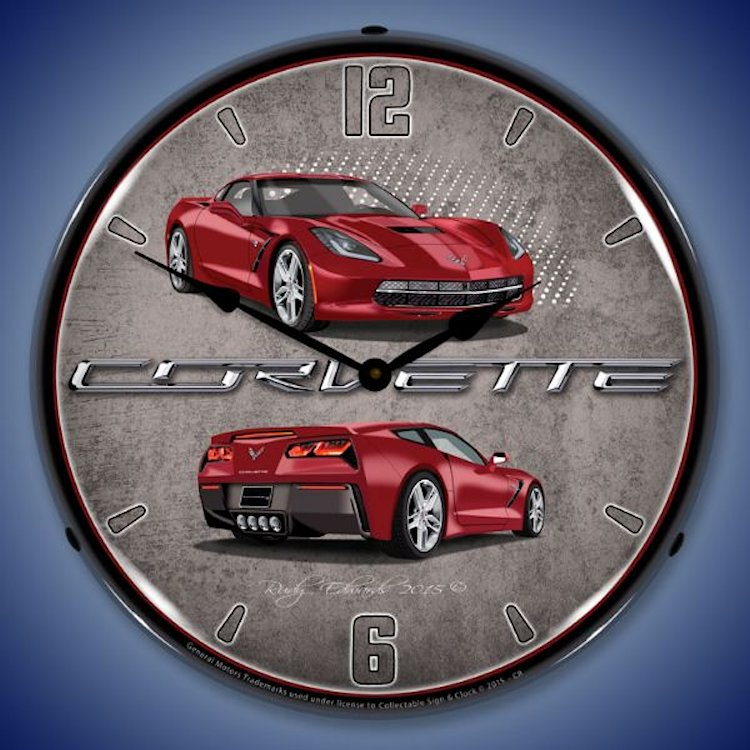 C7 Corvette Lighted Clock - Crystal Red