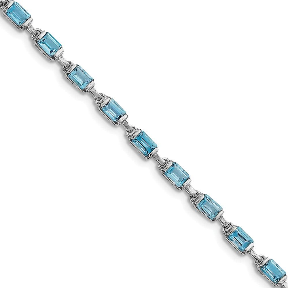 Sterling Silver Rectangular Blue Topaz Bracelet. Gem Wt- 1.2ct