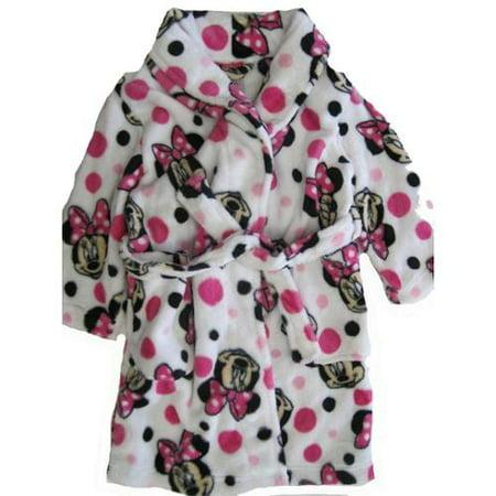 Disney Girls Pink White Minnie Mouse Polka Dotted Plush Bath Robe 8