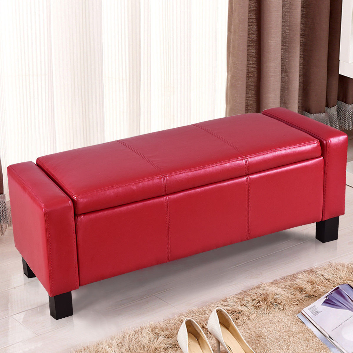 Costway PU Leather Ottoman Bench Storage Chest Footstool Organizer Chair Furniture Red
