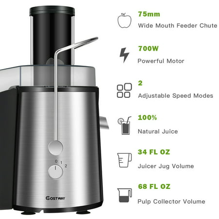 Electric Juicer Wide Mouth Fruit & Vegetable Centrifugal Juice Extractor 2 Speed - image 2 of 10