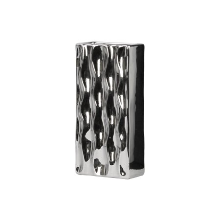 Urban Trends Collection: Ceramic Vase Polished Chrome Finish Silver ()