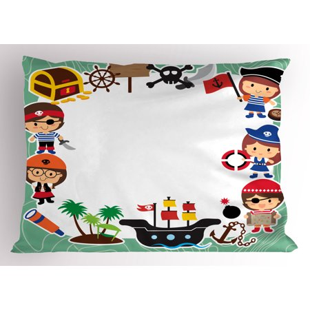 Kids Party Pillow Sham Pirate Explorer Children in Cartoon Style Treasure Chest Ship Tropical Island, Decorative Standard Size Printed Pillowcase, 26 X 20 Inches, Multicolor, by (Island Standard Sham)