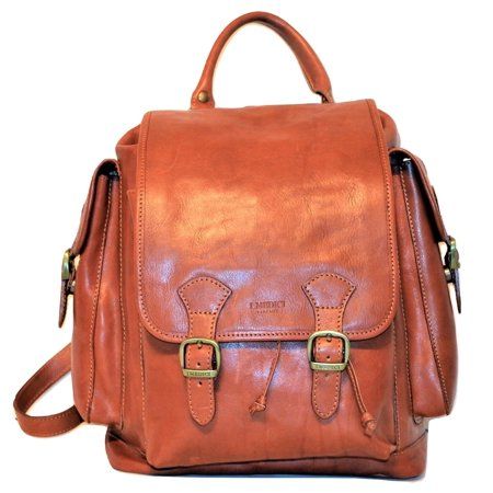 I Medici of Florence Italian Leather Front Flap Drawstring Backpack Cognac (Drawstring Backpack Leather)