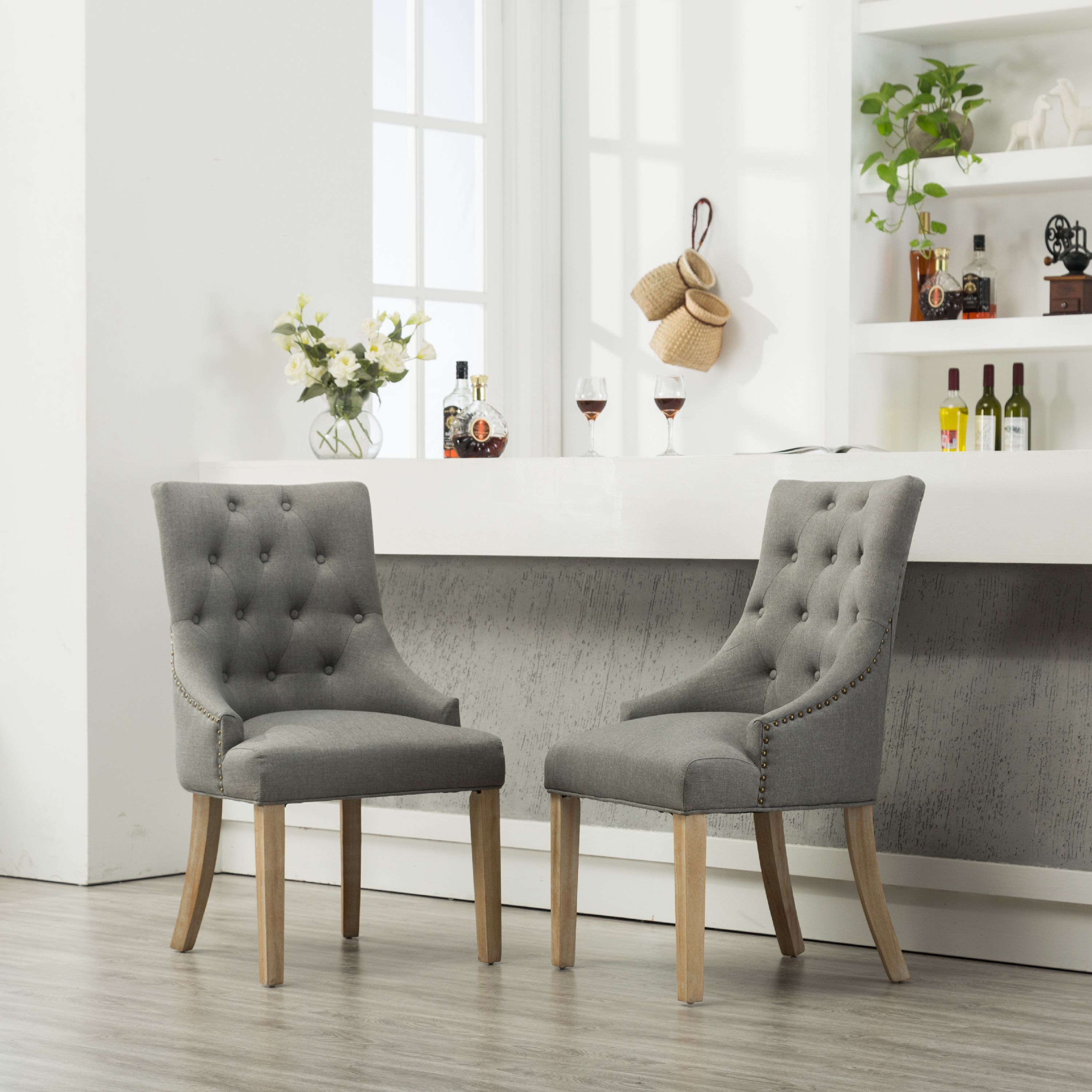 Merveilleux Roundhill Gray Button Tufted Solid Wood Wingback Hostess Chairs With Nail  Heads, Set Of 2