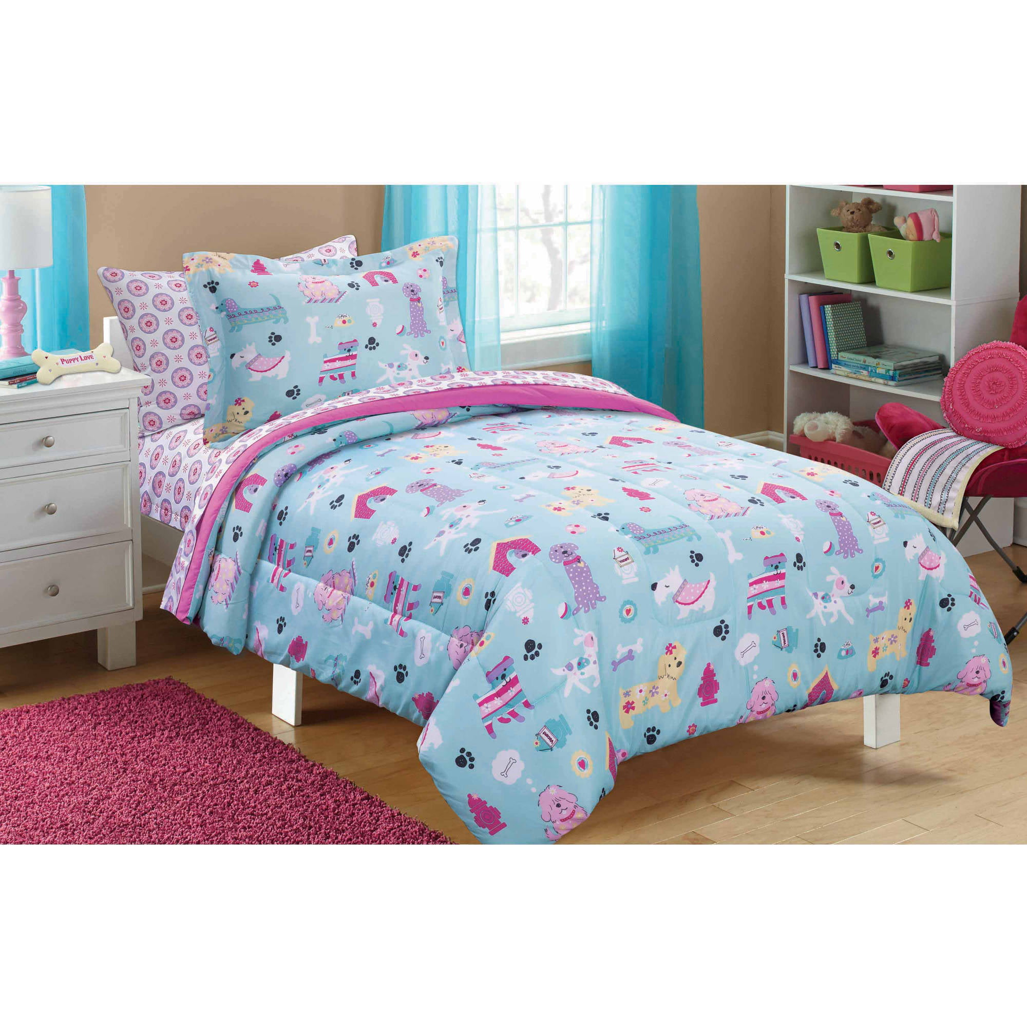 20a9399372aff Mainstays Kids Puppy Love Bed in a Bag Bedding Set - Walmart.com