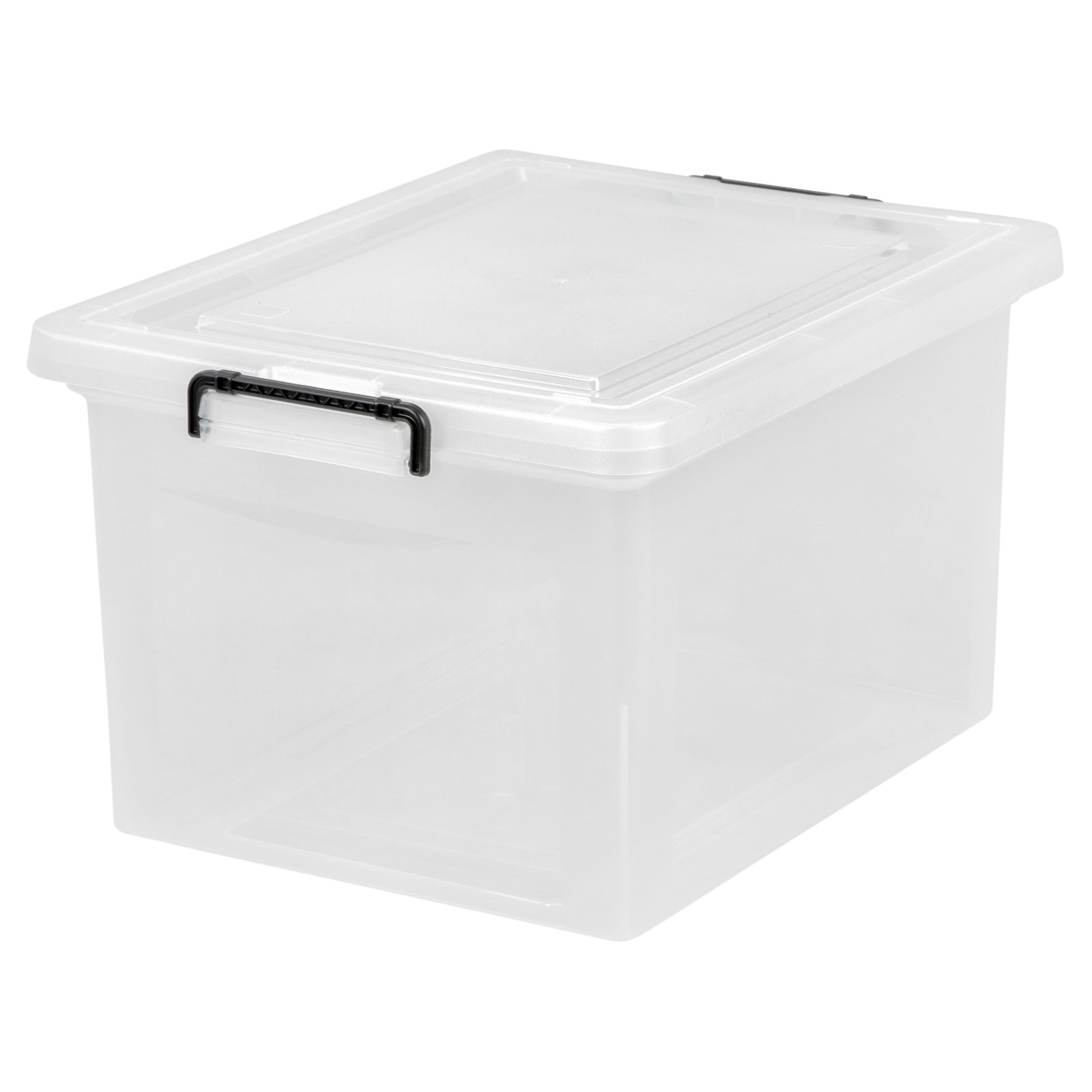 iris letter and legal size hanging file storage box with buckles clear