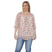 White Mark Women's Plus Size 'Desiree' Orange Chiffon Blouse Orange/Tea Top/Tunic-3XL