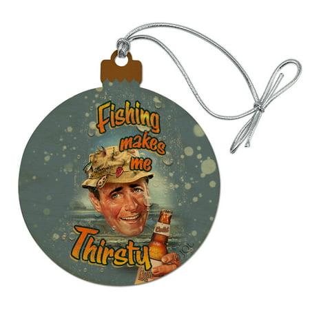 Retro Fishing Makes Me Thirsty Wood Christmas Tree Holiday Ornament ()